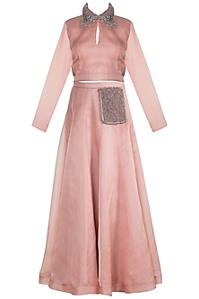 Blush Pink Embroidered Top With Skirt by Abha Choudhary