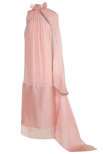 Blush Pink Embroidered Dress With Attached Stole by Abha Choudhary