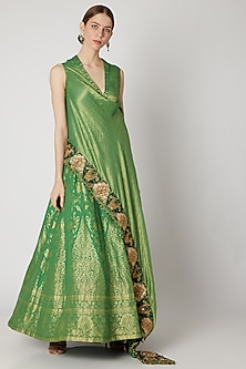 Emerald Green Embroidered Wrap Around Top With Skirt by Abha Choudhary