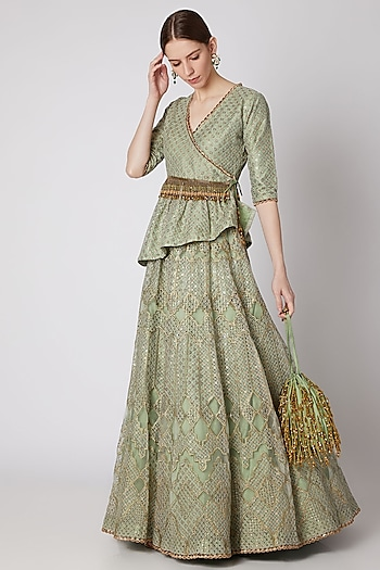 Dull Mint Green Embroidered Kurta With Skirt & Belt by Abha Choudhary