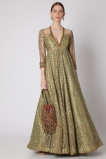 Dull Green Embroidered Anarkali With Potli by Abha Choudhary