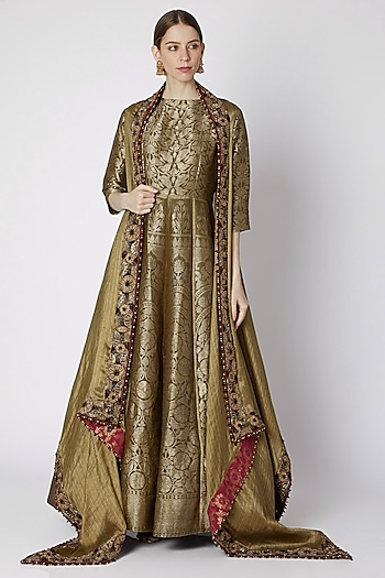 Dull Mehendi Green Embroidered Anarkali With Jacket by Abha Choudhary