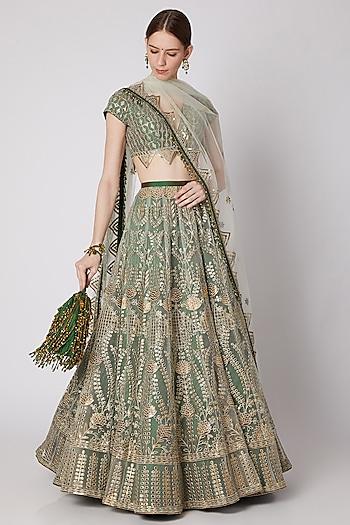 Mint Green & Bottle Green Embroidered Lehenga Set With Potli by Abha Choudhary