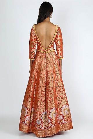 Orange Embroidered Anarkali Set by Abha Choudhary