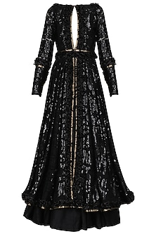 Black Sequin Jacket with Skirt by Abha Choudhary