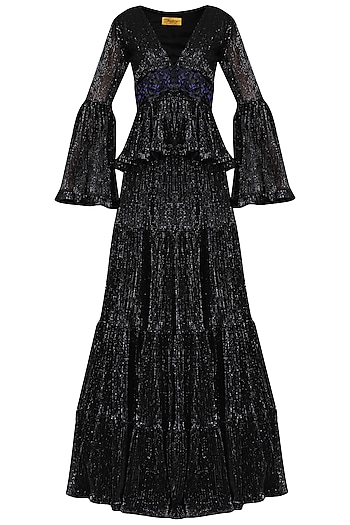 Black Sequin Embellished Peplum Top with Skirt by Abha Choudhary