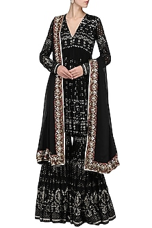 Black Sequin Embellished Sharara Set by Abha Choudhary