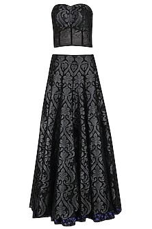 Black Applique Skirt with Corset by Abha Choudhary