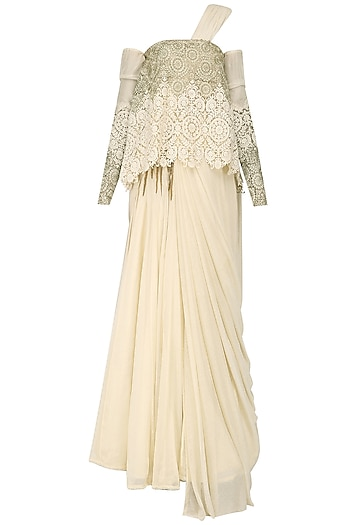 Cream Cold Shoulder Cape and Saree Lehenga Set by Abha Choudhary