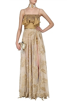 Gold Ruffled Playsuit with Slit Skirt by Abha Choudhary
