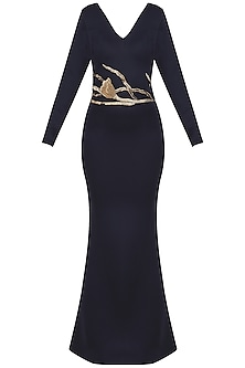 Midnight Blue Embroidered Gown by Abha Choudhary