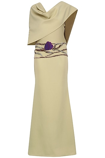 Beige Pleated Stole Embroidered Gown by Abha Choudhary