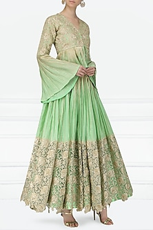 Mint Green Embroidered Peplum Blouse with Lehenga Skirt by Abha Choudhary