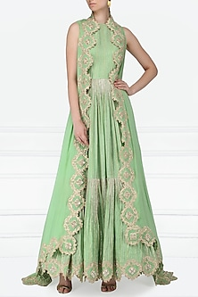 Mint Green Embroidered Anarkali with Asymmetrical Cape by Abha Choudhary
