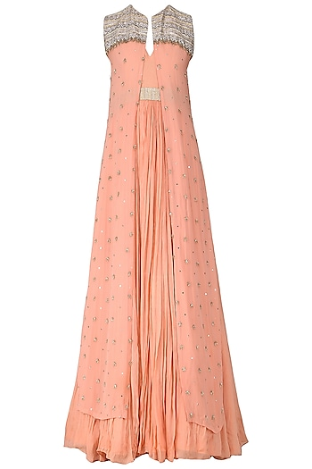 Peach Anarkali with Embroidered Jacket by Abha Choudhary
