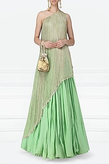 Mint Green Embroidered One Shoulder Top with Lehenga Skirt by Abha Choudhary
