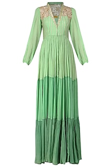 Mint Green Embroidered Tiered Tunic by Abha Choudhary