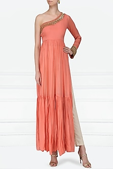 Peach One Shoulder Embroidered Tiered Tunic by Abha Choudhary