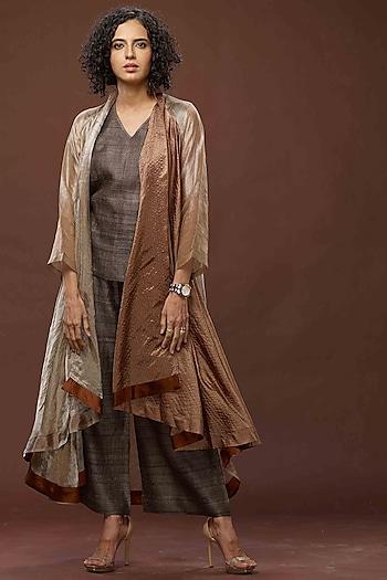 Bronze & Black Zari Textured Jacket Set by Bodhitree Jaipur