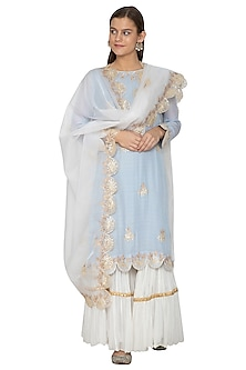 Powder Blue & White Embroidered Gharara Set by Bodhitree Jaipur-PRODUCTS ON DISCOUNT