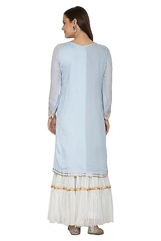 Powder Blue & White Embroidered Gharara Set by Bodhitree Jaipur