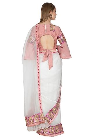 White Embroidered Pre-Draped Saree Set by Bodhitree Jaipur