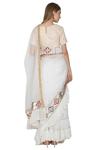 White Embroidered Pre-Draped & Ruffled Saree Set by Bodhitree Jaipur