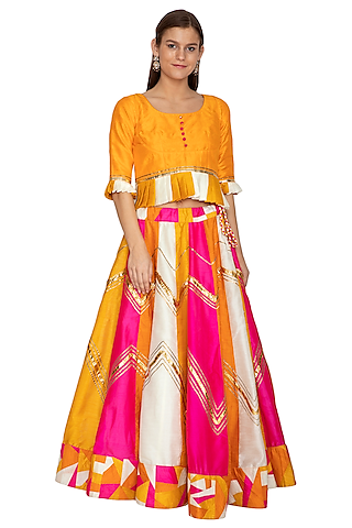 Orange Embroidered Pleated Peplum Top With Skirt by Bodhitree Jaipur
