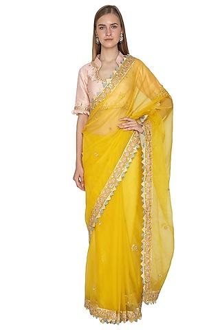 Yellow Embroidered Saree Set by Bodhitree Jaipur