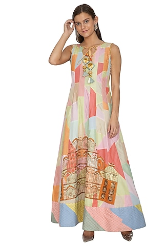 Multicolored Embroidered Anarkali by Bodhitree Jaipur