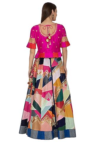 Multi Colored Embroidered Lehenga Set by Bodhitree Jaipur
