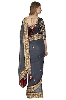 Grey Embroidered Saree Set by Bodhitree Jaipur