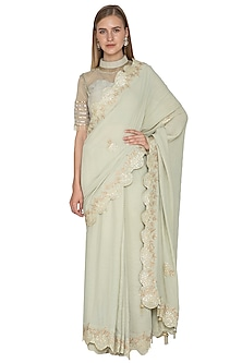 Pistachio Green Embroidered Saree Set by Bodhitree Jaipur