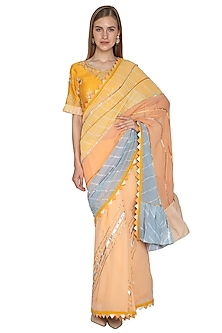 Multi Colored Embroidered Saree Set by Bodhitree Jaipur