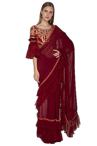 Maroon Embroidered Ruffled Saree Set by Bodhitree Jaipur