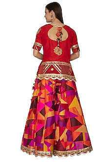 Crimson Red Embroidered Sharara Set by Bodhitree Jaipur