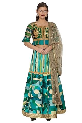Emerald Green Embroidered Sharara Set by Bodhitree Jaipur
