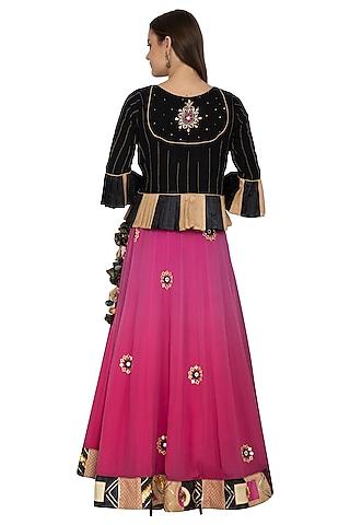 Deep Pink Embroidered Lehenga With Peplum Top by Bodhitree Jaipur