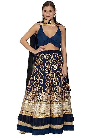 Dark Blue Embroidered Lehenga Set by Bodhitree Jaipur