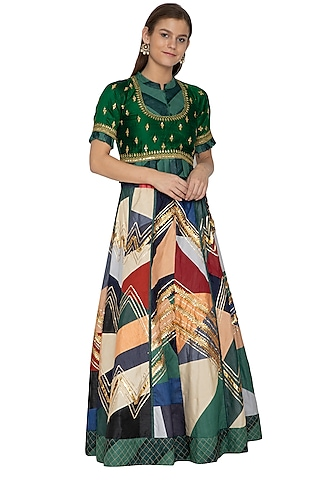 Multi Colored Embroidered Lehenga With Peplum Top by Bodhitree Jaipur