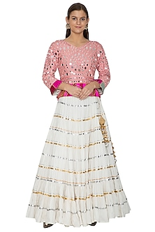 Ivory Embroidered Lehenga With Top by Bodhitree Jaipur