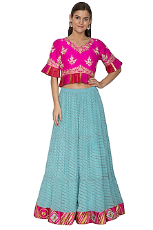 Aqua Blue Printed & Embroidered Leheriya Lehenga With Top by Bodhitree Jaipur