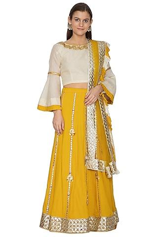 Canary Yellow Embroidered Lehenga Set by Bodhitree Jaipur