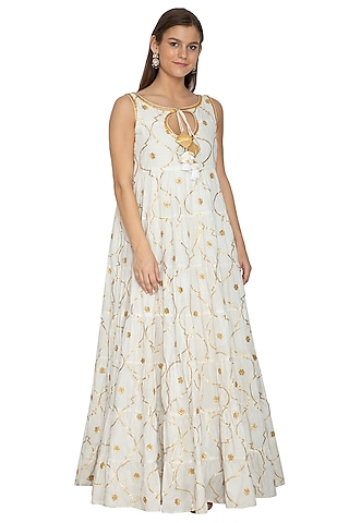 Ivory Embroidered Cotton Anarkali by Bodhitree Jaipur