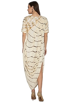 White Embroidered & Printed Draped Dress by Bodhitree Jaipur