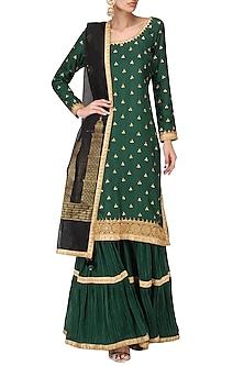 Emerald Green Embroidered Kurta and Gharara Pants Set by Bodhitree Jaipur