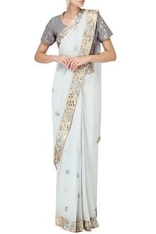 Powder Blue Gota Patti Work Saree by Bodhitree Jaipur