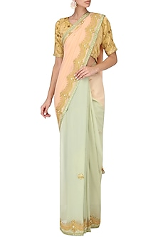 Salmon Pink and Kiwi Green Ombre Saree by Bodhitree Jaipur