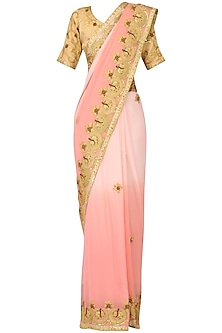 Powder Pink Ombre Marori Work Saree by Bodhitree Jaipur