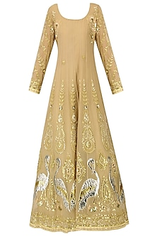 Barley Beige Embroidered Anarkali Gown by Bodhitree Jaipur